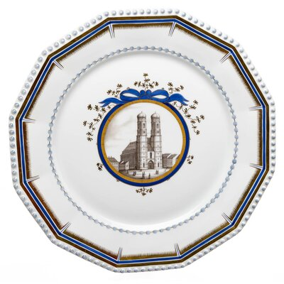 dinnner plate with Munich Frauenkirche Nymphenburg Pearl Service designed by Dominikus Auliczek 1st Choice after 1930 (27,5cm)