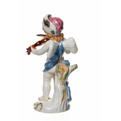 figurine small disguised cubid as a violine player Meissen Cubids painted 1st Choice MINT Condition