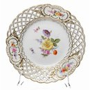 pierce plate colored flowers  Meissen New Cutout 1st...