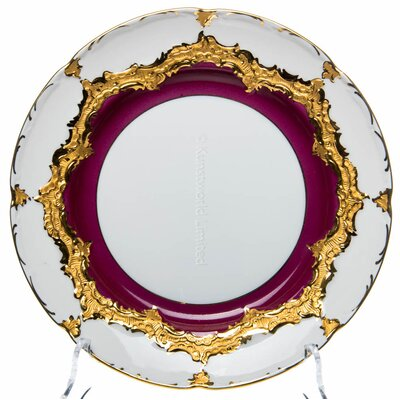 cake plate purple with gold Meissen B-form 2nd Choice very good condition