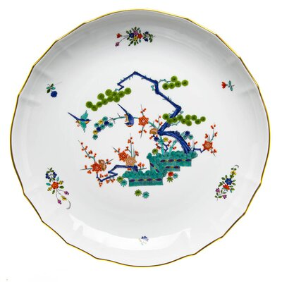 bowl oriental painting, pine, plum, bamboo and birds Meissen New Cutout 1st Choice after 1970 (27,8cm)