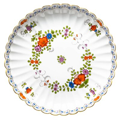 bowl Indian flower painting, two parts, multicol. w. copper col., gold rim Meissen New Cutout 1st Choice after 1970 (28cm)