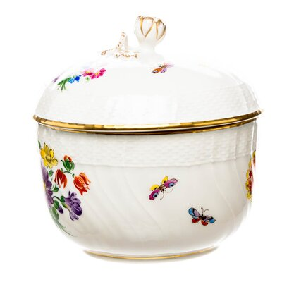 sugar bowl flowers (no 36) KPM Berlin New Osier designed by Friedrich Elias Meyer 1st Choice after 1900 (10,5cm)
