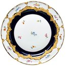 plate splendor pattern, royl blue, colored flowers, gold...