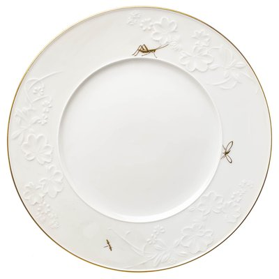 dinner plate golden insect painture KPM Berlin Feldblume designed by Trude Petri 1st Choice after 1940 (26,5cm)