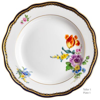 bread, cake plate colored flowers A-Edge Meissen New Cutout form 00470 1st Choice after 1940 (16,5cm)