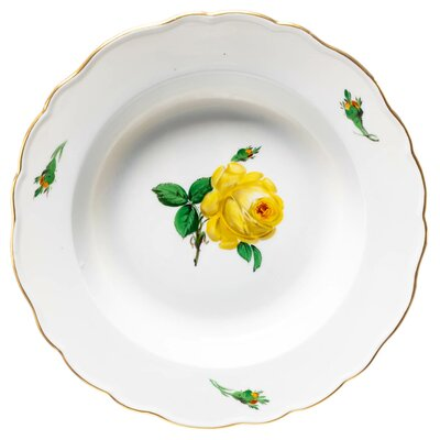 soup plate yellow rose pattern Meissen New Cutout form 82 (New/New: 00488) 1st Choice 1924-34 (23,5cm)