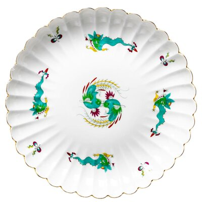 fan bowl with mint green dragon pattern Meissen New Cutout form 318 55 2nd Choice 1850-1924 (27cm)