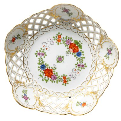 pierced bowl Indian flower painting, two parts, multicol. w. copper col., gold rim Meissen New Cutout form 54883 1st Choice 1981 (23cm)
