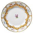 plate splendor pattern, colored flowers, gold bronce...
