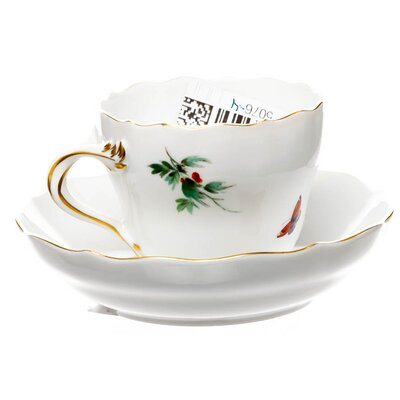 mocha cup and saucer Meissen bird and insects painture Meissen New Cutout form 00570 1st Choice after 1970