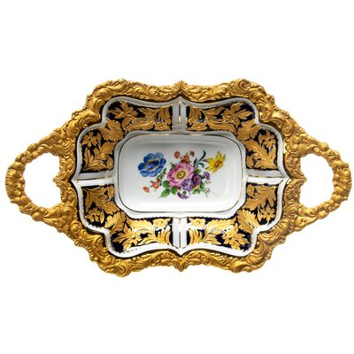 Dish with tray splendor pattern royal blue Meissen splendor objects form U 90 1st Choice after 1970 (35cm)